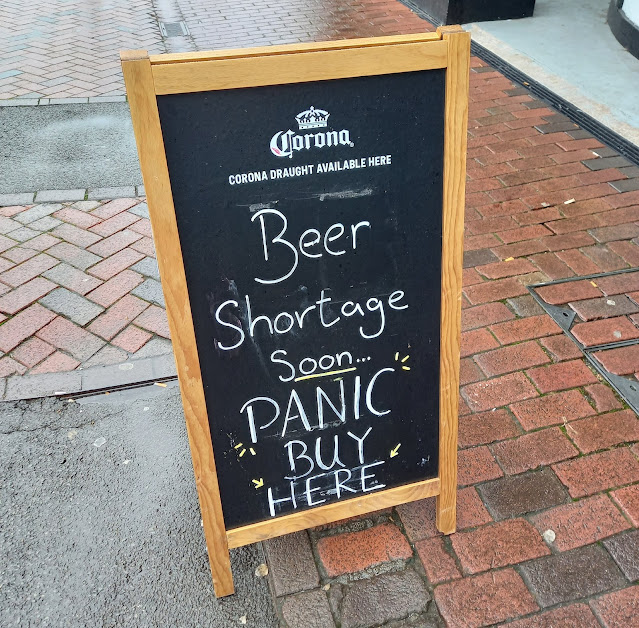 A panic buying sign - for beer - in Northwich