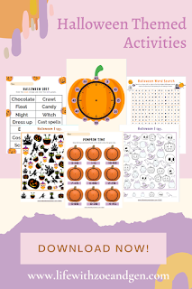 Free Halloween Themed Activities Printable for k2-Grade 1 l Life with ZG l Homeschooling Mom PH