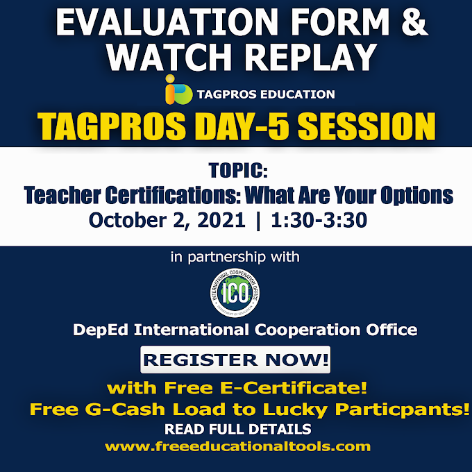 Evaluation Form & Replay   Day 5 Tagpros Free Webinar on Teacher Certifications: What Are Your Options   October 2, 2021