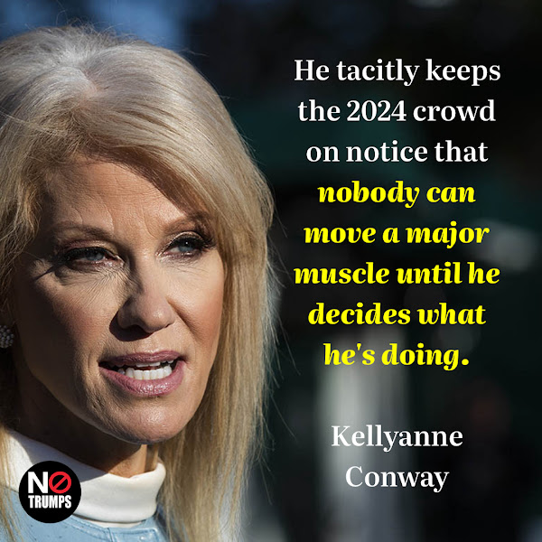 He tacitly keeps the 2024 crowd on notice that nobody can move a major muscle until he decides what he's doing. — former campaign manager and White House adviser Kellyanne Conway
