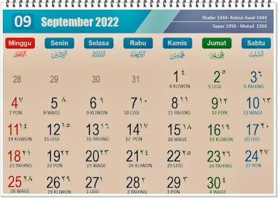 Kalender Bulan September 2022 Lengkap Hari Peringatannya - kanalmu