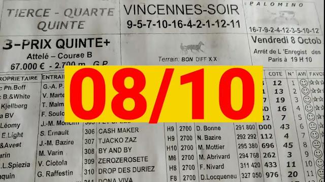 programme quinté+ Pronostic quinté vendredi 08/10/2021