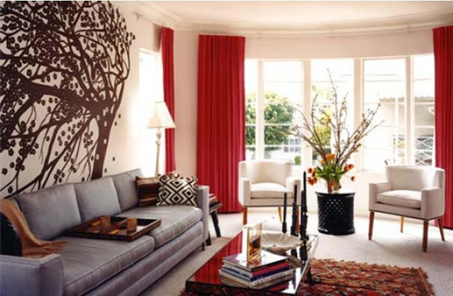 red curtain living room decorating ideas