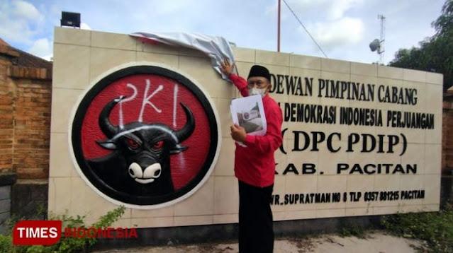 Teror Vandalisme 'PKI' di Logo Banteng DPC PDIP Kabupaten Pacitan