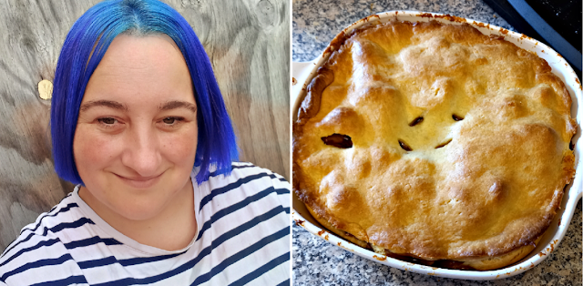 Me with blue hair and veggie pie