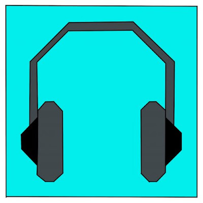 grey headphones on a teal background