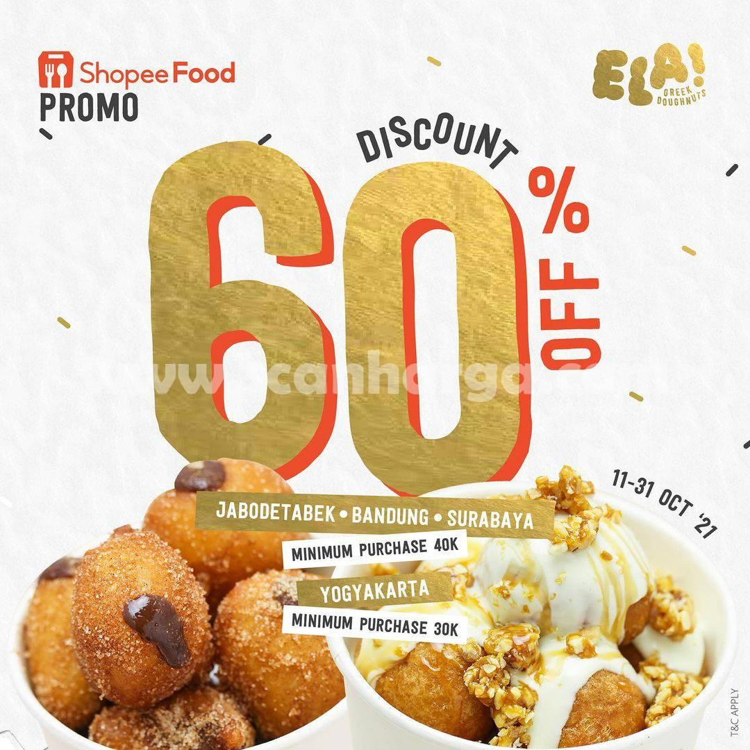 Promo Ela! Greek Doughnuts Diskon 60% via Shopeefood