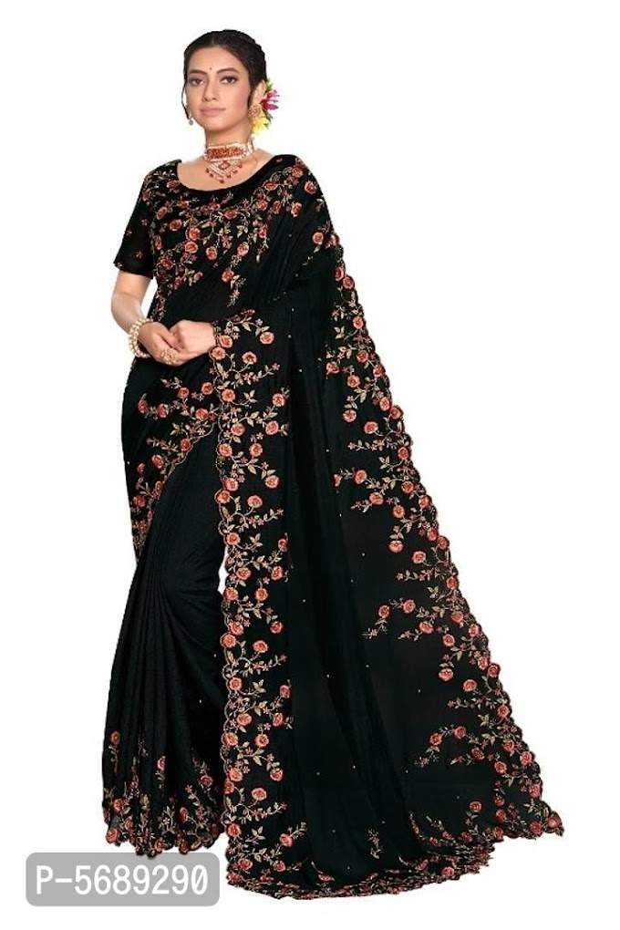 Poly Silk Embroidered Saree with Blouse Piece Online Shopping | Saree Online Shopping |Saree with Blouse Online Shopping |