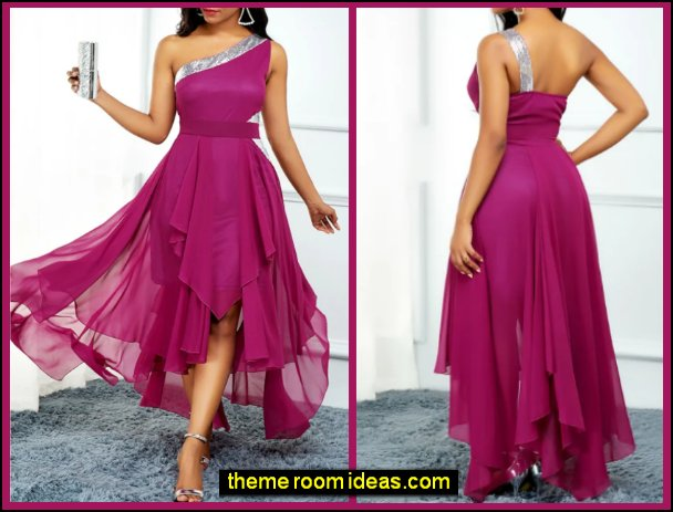 Cocktail Party Dress One Shoulder Sleeveless Asymmetrical Chiffon with Pleats Sequin