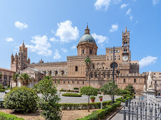 Palermo's beautiful cathedral, viewed across the its square in the Monte di Pietà district of the city