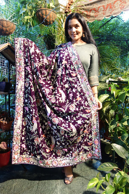 Wine colour Parsi Gara embroidered dupatta on georgette