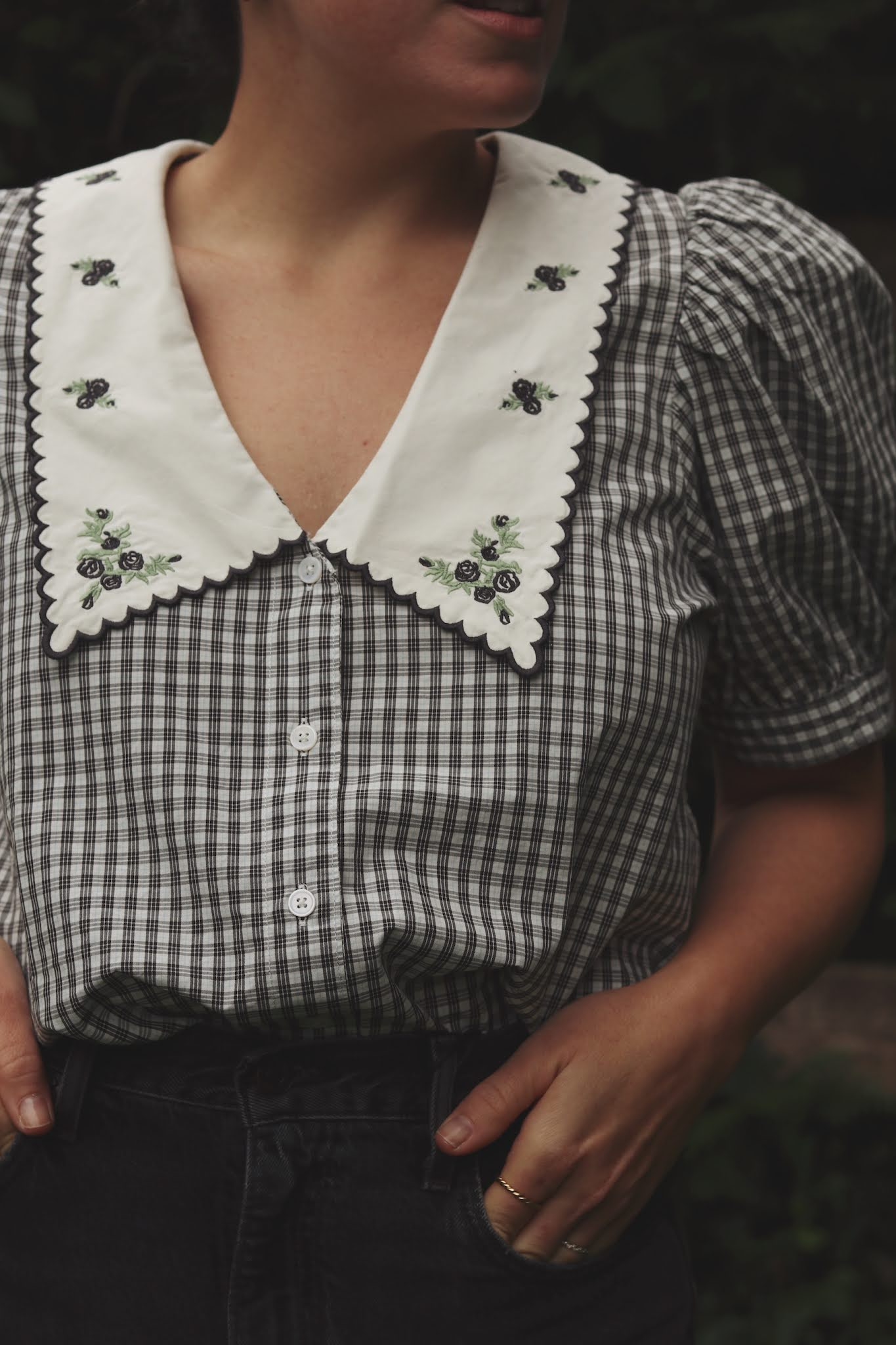levis cotton collar blouse 70s high flare outfit