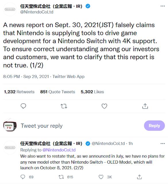 Nintendo Co Ltd Japan Bloomberg 4K Switch report not true investors