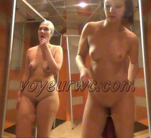 Mature white ladies and girls in the public shower room recorded on hidden voyeur cam video (Shower Spy 775-777)