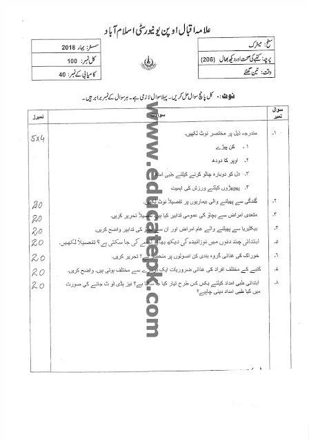 AIOU Past Paper 207 Spring 2018