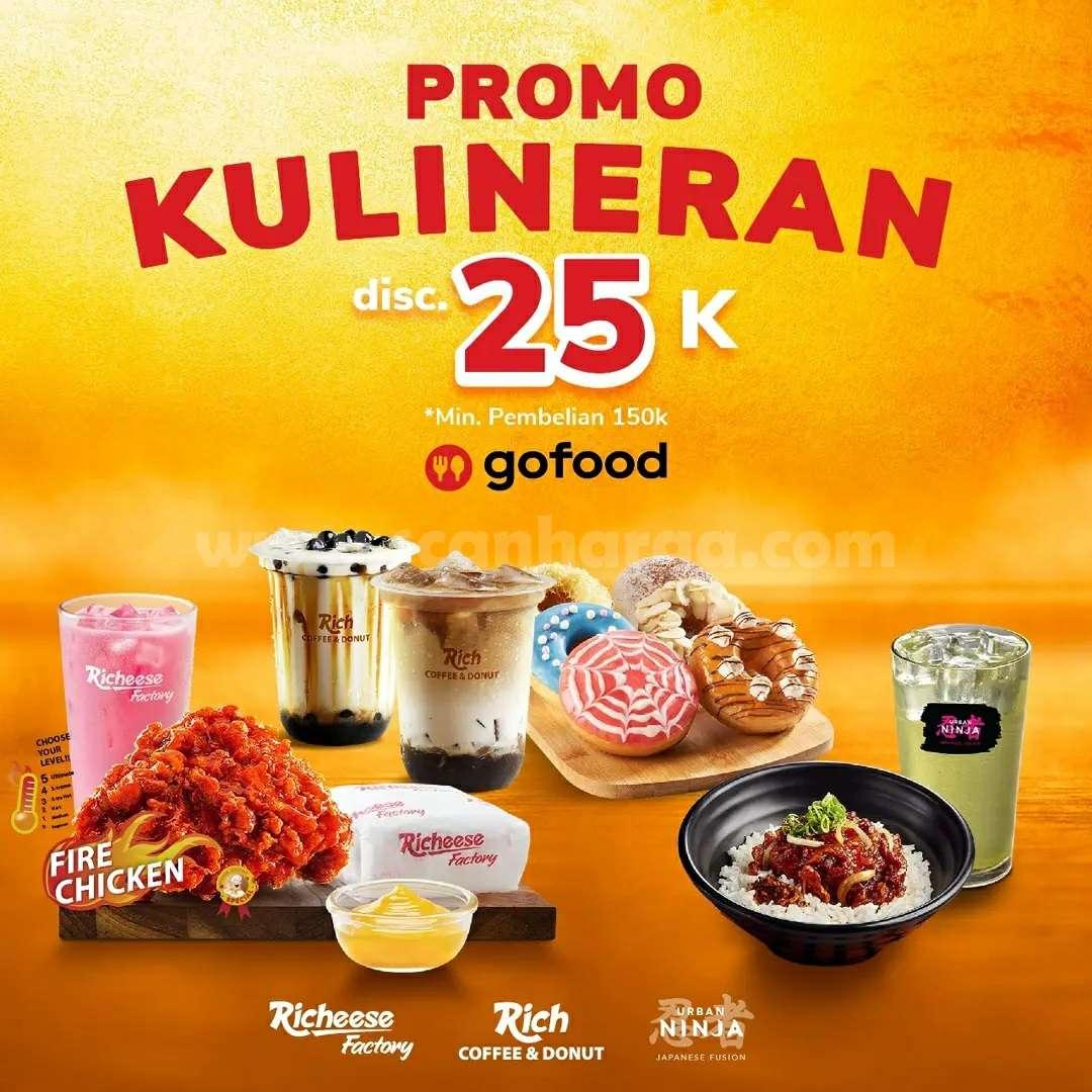 Promo Richeese Factory Kulineran Gofood Diskon hingga Rp. 25.000