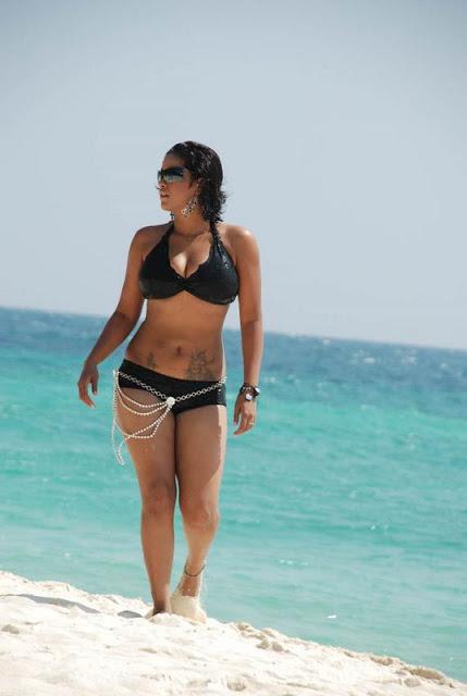 Actress Mumaith Khan in Black Color Bikini dress Photos