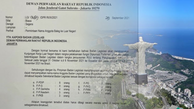 Beredar Surat Baleg DPR Mau Kunker Seminggu ke Brasil dan Ekuador untuk Susun RUU PKS