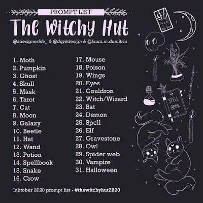 A list of 31 creative prompts compiled by @dqykdesign, @laura.m.duimitriu, @adesignerlife_ The prompts are: Moth, pumpkin, ghost, skull, mask, tarot, cat, moon, galaxy, beetle, hat, wand, potion, spellbook, snake, crow, mouse, poison, wings, eyes, cauldron, witch/wizard, bat, demon, spell, elf, gravestone, owl, spider web, vampire, Halloween