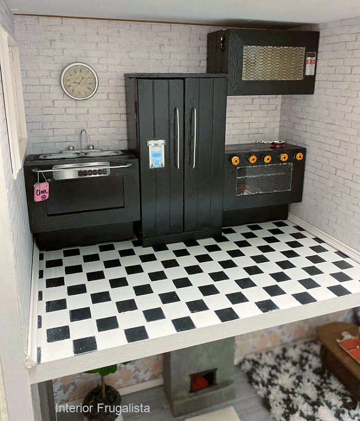 How to make dollhouse miniature kitchen appliances from recycled and repurposed materials with tutorial for fridge, stove, dishwasher, and microwave.