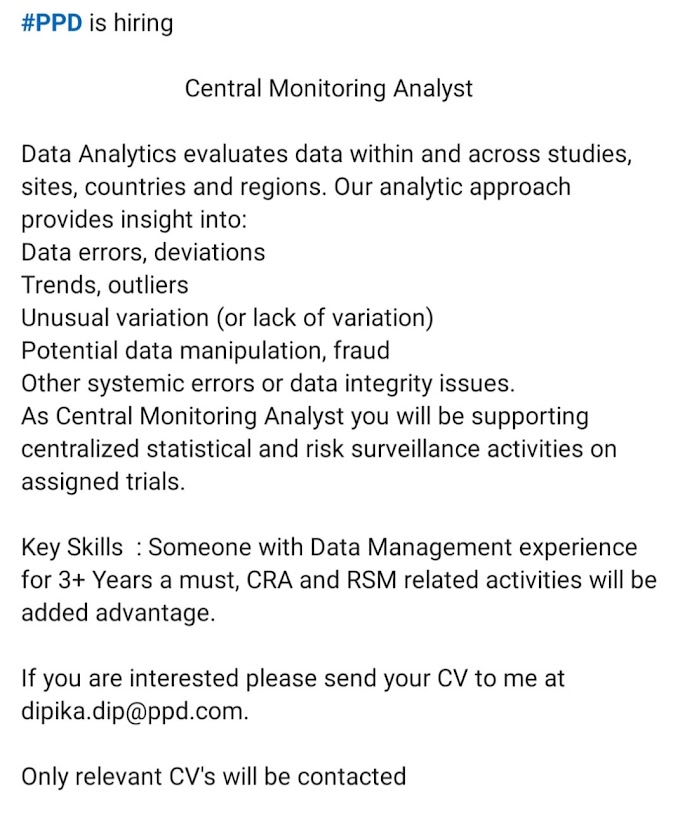 Central Monitoring Analyst Multiple Opening