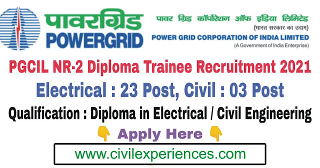 NR-II Recruitment - POWERGRID | PGCIL NR II Diploma Trainee Recruitment 2021