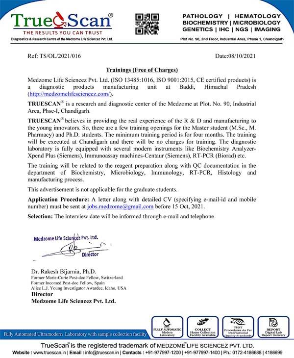 TrueScan Offering Freee Training Program for MSc Students