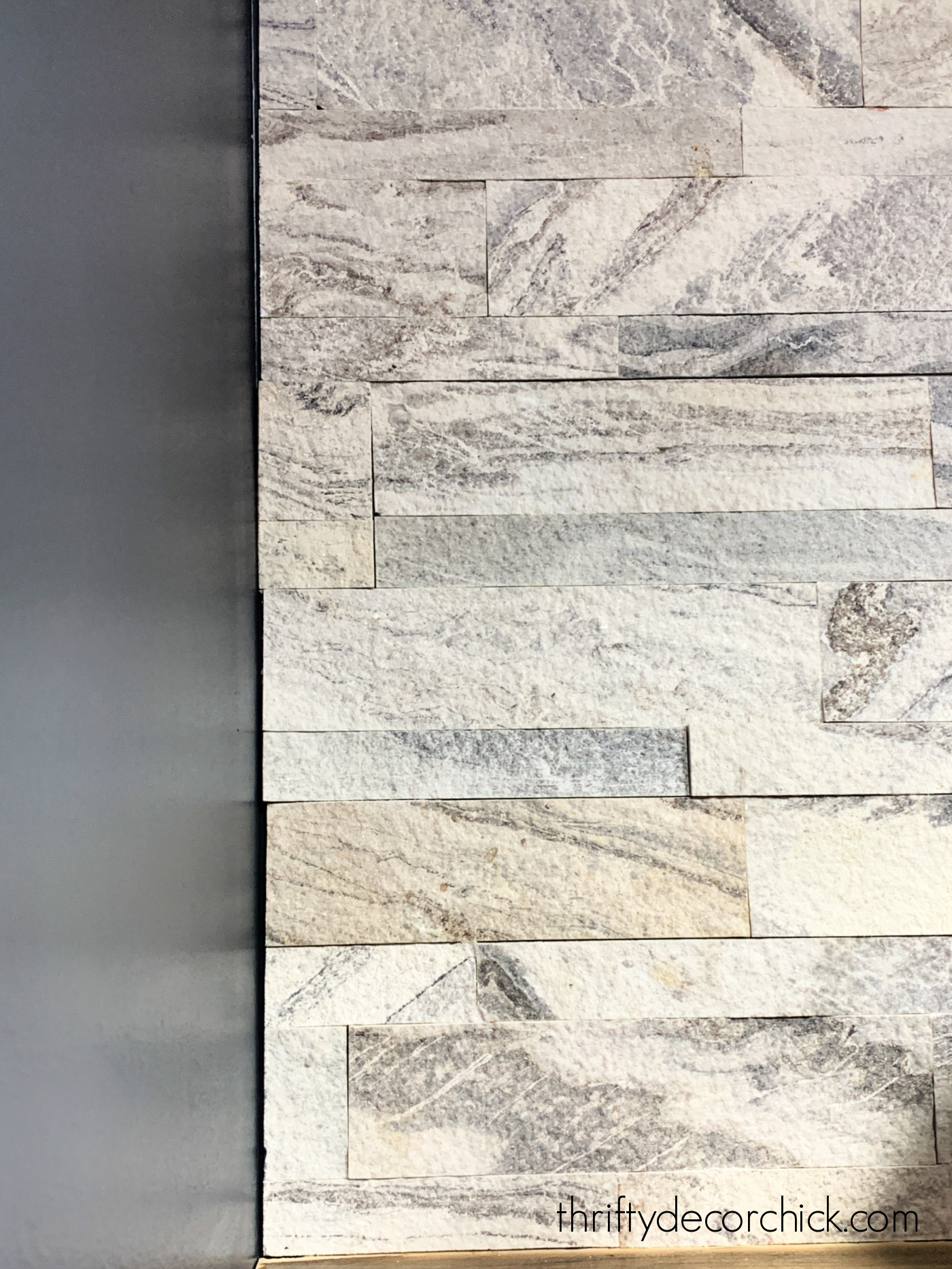 white and gray peel and stick tile