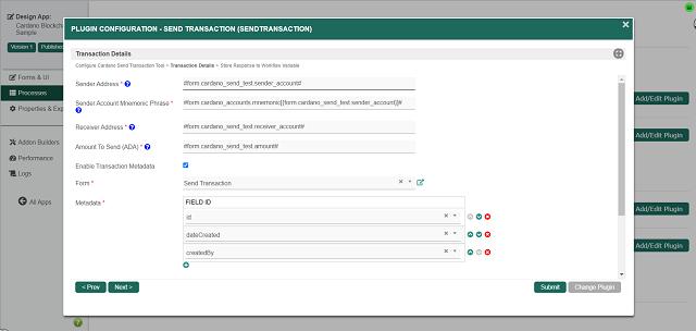 Cardano Send Transaction Tool: Transaction Details w/ Metadata