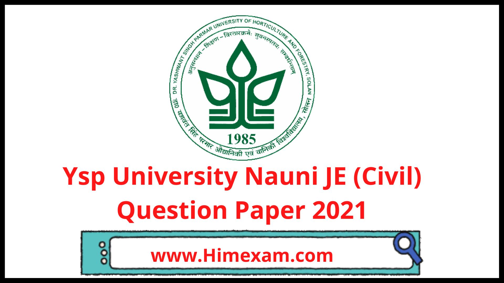 Ysp University Nauni JE (Civil) Question Paper 2021