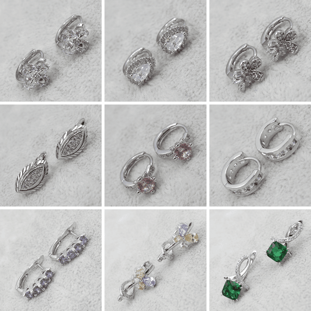 Сережки с камнями Родий/Белое Золото Xuping Jewelry ™ B2B