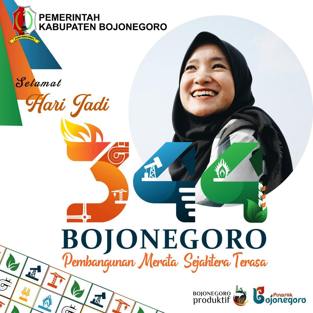 Template Background Frame Bingkai Twibbon Ulang Tahun ke-344 Bojonegoro Tahun 2021