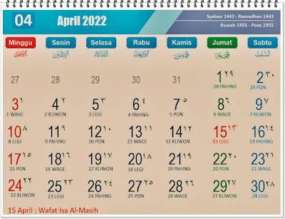 Kalender Bulan April 2022 Lengkap Hari Peringatannya - kanalmu