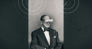 B/W photo of a man wearing goggles fitted with FM aerials