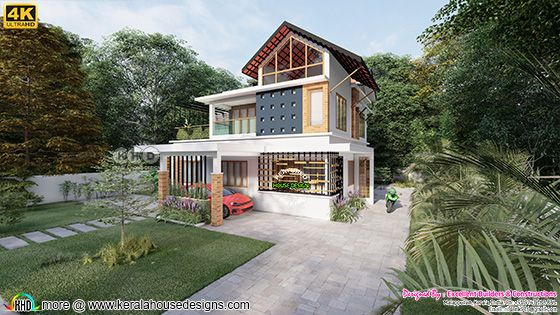 Side elevation of mixed roof style home front design
