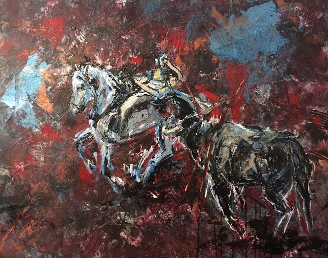 Karine Babel peint une corrida à cheval