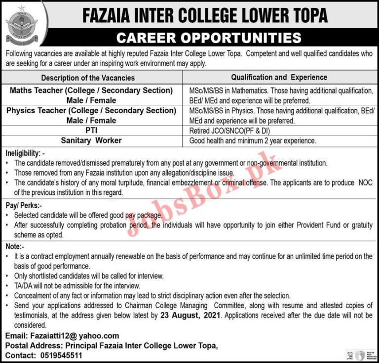 Fazaia Inter College Lower Topa Murree Jobs 2021