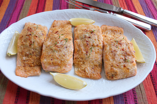Food Lust People Love: The topping on this Savory Craquelin Pastry Roast Salmon is a great way to add flavor and also make sure roast salmon doesn't dry out in the oven. It's flavored with garlic, thyme, smoked sea salt flakes, aleppo pepper and just a sprinkle of nutmeg.