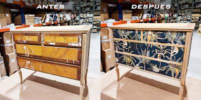 Mueble antes y después del papel pintado empapelado