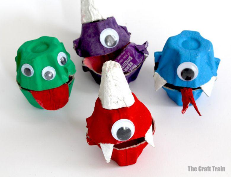 Egg carton monster craft