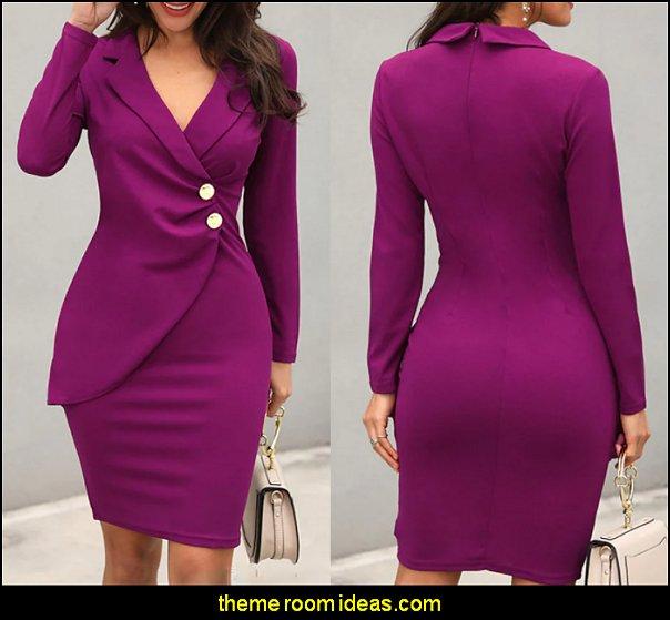 Ruched Button Knee Length Dress Purple womens dress womens fashion girls fashion style