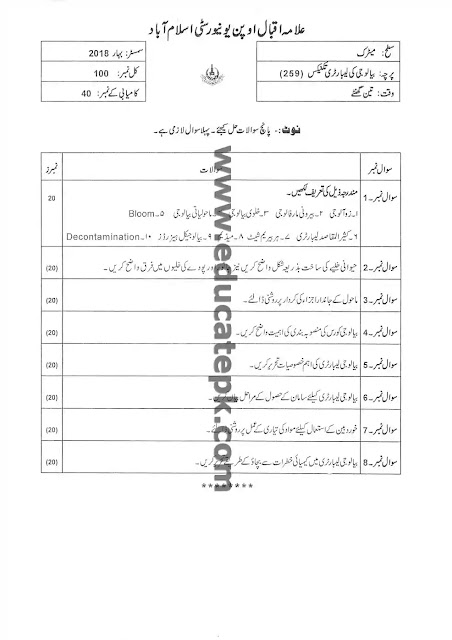AIOU Past Paper 259 Spring 2018