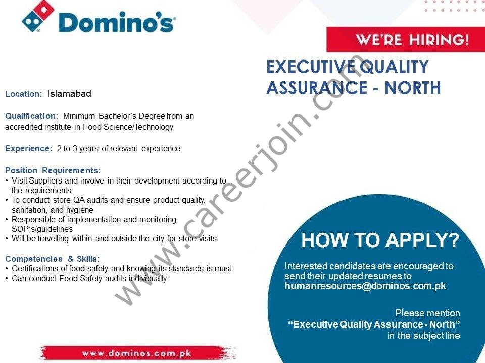 Domino's Pizza Pakistan Jobs Executive Quality Assurance