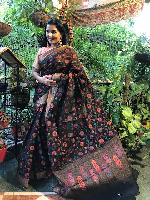 Banarasi black cotton saree with multicolor floral jaal