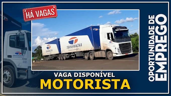 Transportadora Transmagna abre vagas para motorista carreteiro