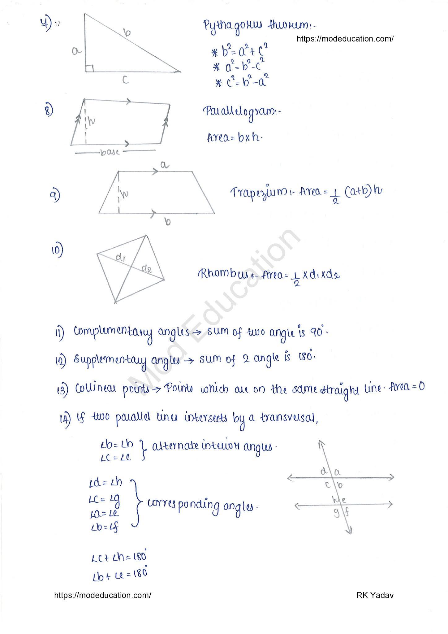 Class 10 Maths Formula all Chapters PDF