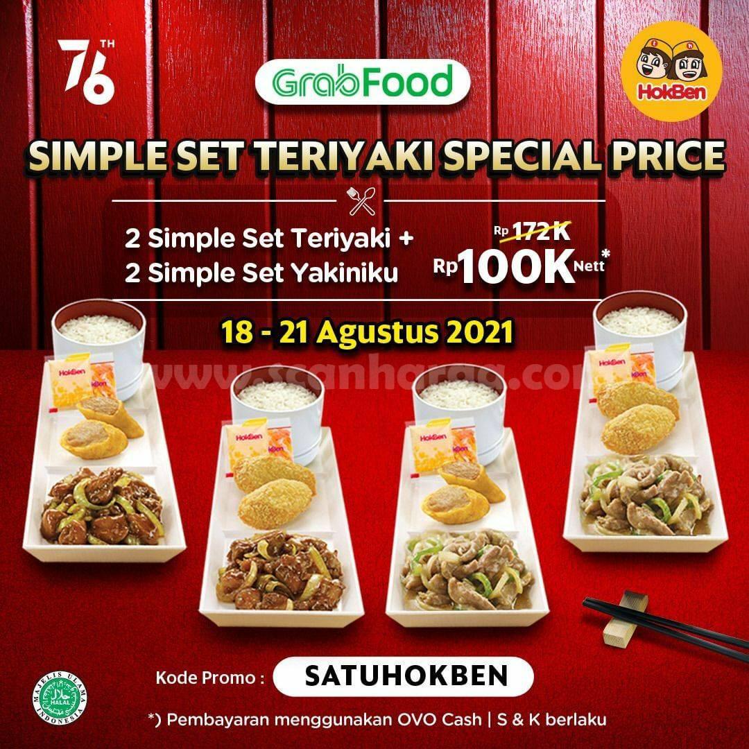 HOKBEN Promo GRABFOOD - 4 Paket Simple Set Chicken cuma 100K Periode 18 - 21 Agustus 2021