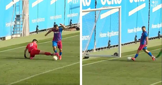 Barcelona release video of Aguero's first goal in Cornella friendly