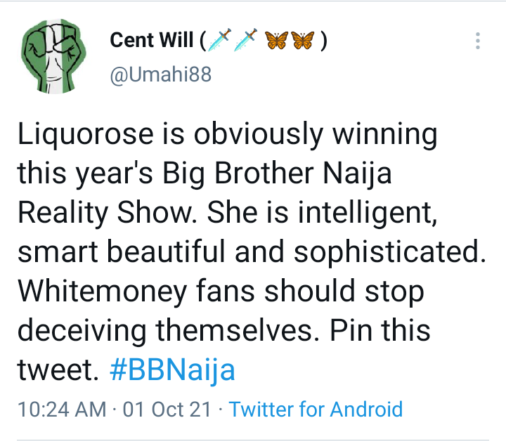 BBNaija: Nigerian man reveals why Liquorose will win BBNaija Season 6, says Whitemoney fans should stop deceiving themselves