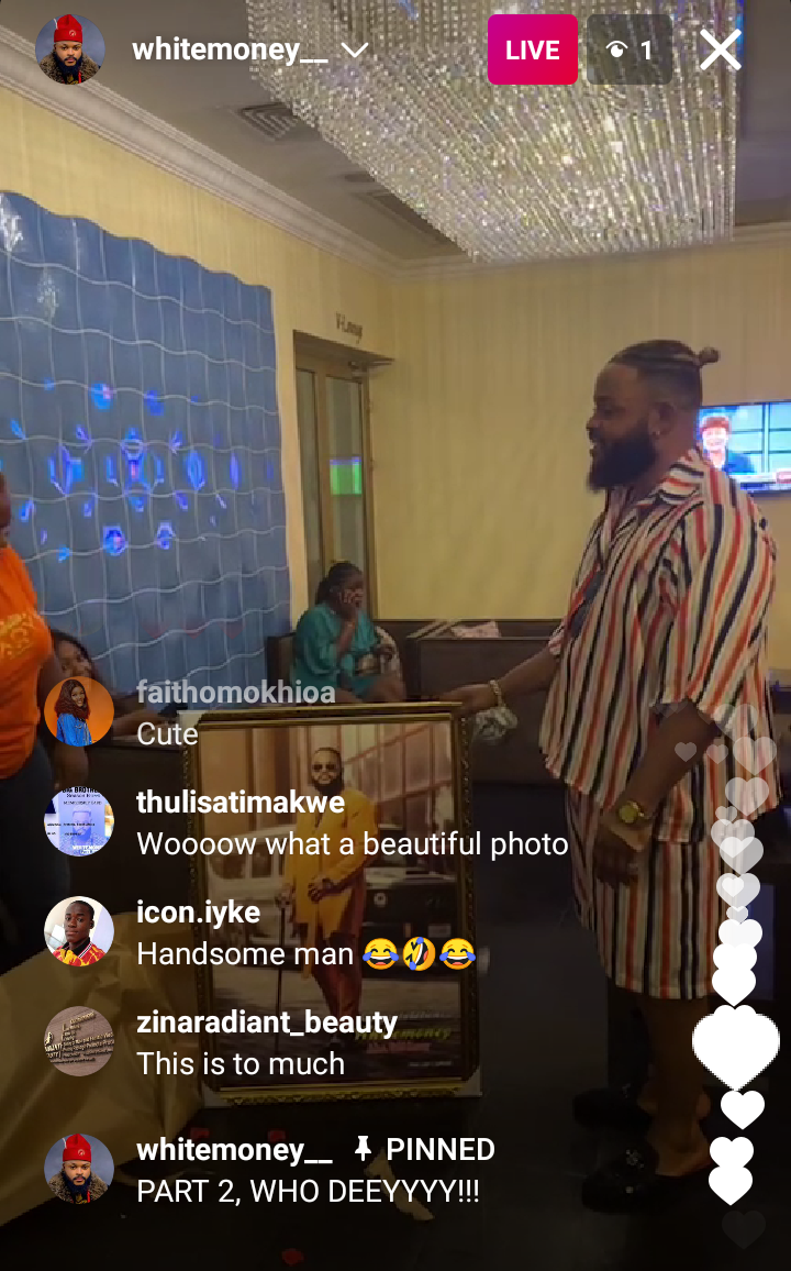 BBNaija: Whitemoney receives huge money tower, portray and other gifts from his fans after being hospitalized (video)